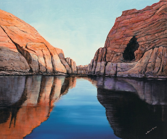 Original Oil Painting Limited Edition Giclee - Lake Powell Reflections - 20x24""