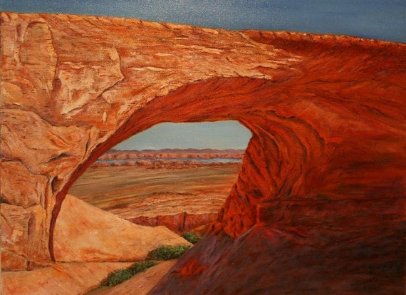 "Western Sandstone Desert Landscape, Original Oil Painting - ""Arch at Lake Powell"" - 18x24"""