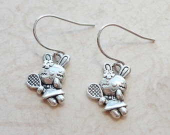 Cute Rabbit Earrings - Fun Jewelry - Tennis Player Rabbit Girl