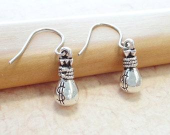 Money Bag Earrings - Fun Jewelry - Good Luck Earrings