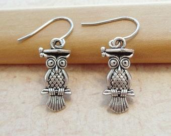 Antique Silver Owl Earrings - Everyday Earrings - Fun Jewelry