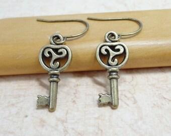 Antique Brass Key Earrings - Simple Everyday Jewelry