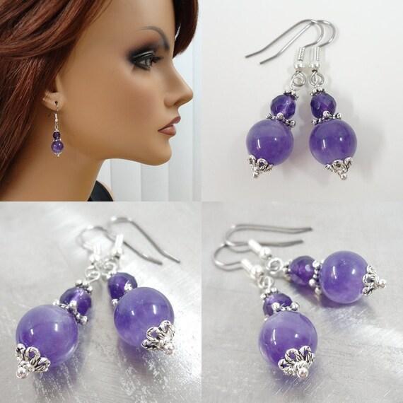 Amethyst Earrings - Gemstone Jewelry - Gemstone Earrings - Simple Earrings