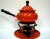 Smashing Deep Orange Fondue Pot Set 1970's