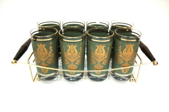 Eight Mid Century High Ball Tumbler Set with Gold Tone Metal and Teak Drink Caddy