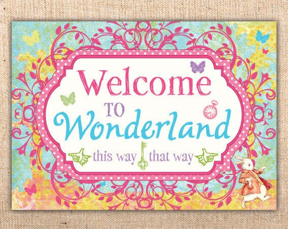 Alice in Wonderland Welcome to Wonderland SIgn