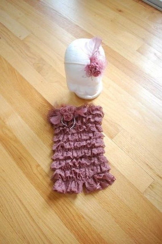 Dusty Rose Vintage Shabby Chic Lace Romper