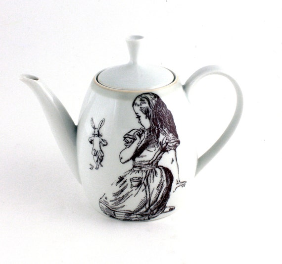 Altered  Alice in Wonderland Teapot Vintage Porcelain White Brown with Rabbit Unique