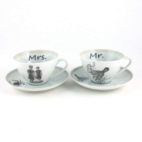 Recycled  Mr and Mrs Couple Espresso Vintage Cups Coffee Porcelaiin White  Sea Cottage