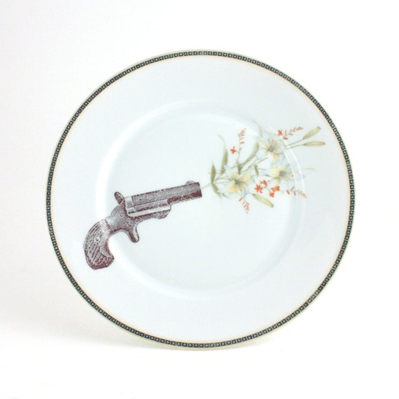 Altered Gun Shooting Flowers Decorative House Decor on Big Redesigned Vintage Porcelain Plate White with Orange Flowers