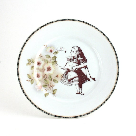 Altered Alice with Flamingo on Big Redesigned Vintage Porcelain Serving Plate White with Pink Flowers Decorative House Decor