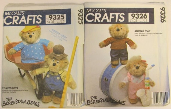2 McCall's Crafts Berenstain Bears Stuffed Toys Pattern Mama Papa Brother Sister Bear