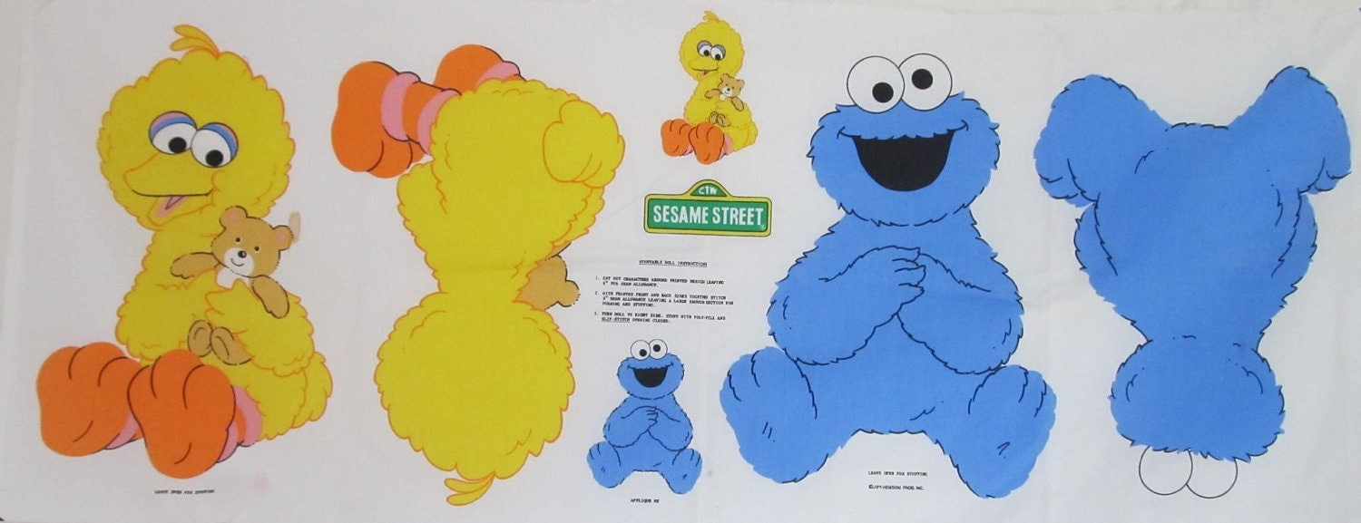Baby Big Bird & Baby Cookie Monster Fabric Stuffable Doll