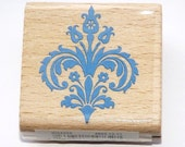 Damask Flower Design Wood Mounted Rubber Stamp Shabby Chic