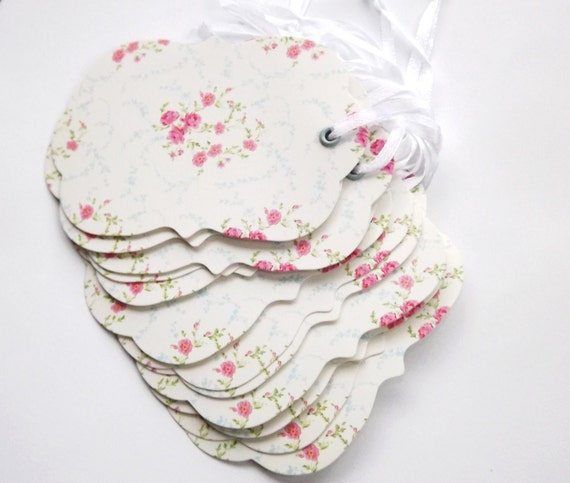 Shabby Chic Gift Tags Floral Pink White Blue