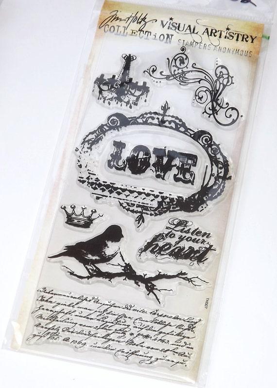 Tim Holtz Clear Rubber Stamps - Chandelier Bird Crown Love - Urban Grunge