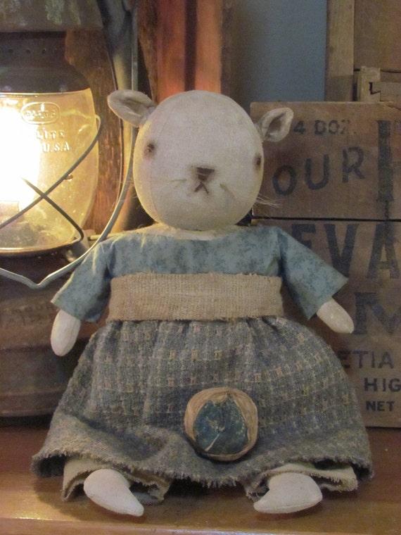 SALE Primitive Early Style Folk Art Kitty Cat Doll & Antique Quilt Rag Ball Sweetpeas Primitives