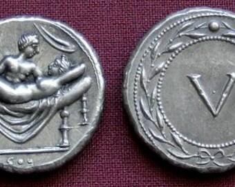 Rome Erotic token Spintriae V. 1st century AD. tin replica coin