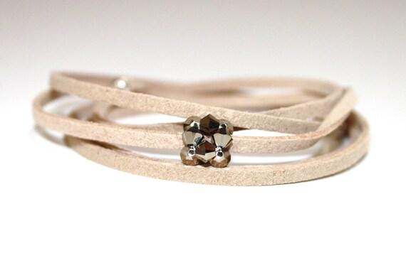 Beige Suede Cord Bracelet with Light Gold Swarovski crystal Beads