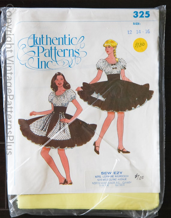 Vintage Authentic Patterns Inc 325 PLUS SIZE Square Dance Dress Country Western Petticoat Puffy Rockabilly Size 12 14 16