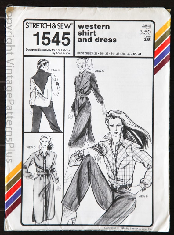 RARE Vintage Stretch and Sew 1545 Western Shirt and Dress Sizes 28 to 44 Plus sizes Ann Person 1980