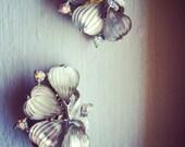 1950s Limoge-Style Clip-On Flower Earrings