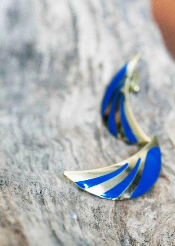 Vintage 80s 'Blue Wings' Earrings