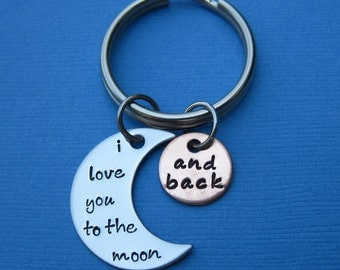 I Love You to the Moon and Back Key Chain - Valentine's Day Anniversary Wedding Birthday Father's Day Gift Mother's Day Gift Keychain
