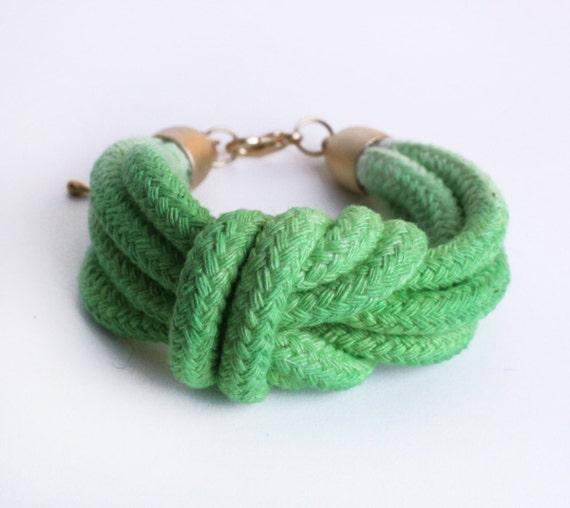 UNIQUE Dip Dye- Double Knot Cotton Bracelet in Limegreen