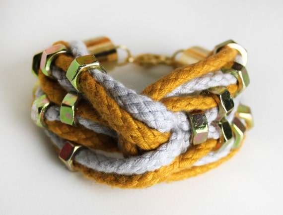 Double Rope Bracelet in mustard and green with female screws