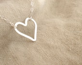 Heart Sterling silver necklace-simple everyday jewelry-gift for her