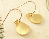 Brushed Teardrop 14K gold filled Earring -simple everyday jewelry