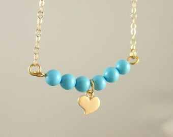 Turquoise & Heart 14K gold filled necklace-simple everyday jewelry