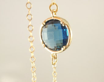 Royal blue bezel 14K gold filled necklace-simple everyday jewelry