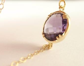 Amethyst bezel set 14K gold filled necklace-simple everyday jewelry