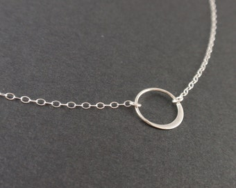 Circle Sterling silver necklace-simple everyday jewelry