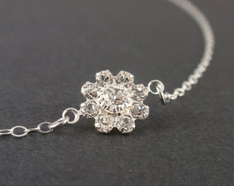 Cubic Flower Link Sterling silver necklace-simple everyday jewelry