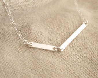 Double bar Sterling silver necklace-simple everyday jewelry