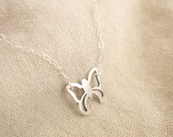 Butterfly Sterling silver necklace-simple everyday jewelry
