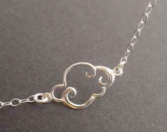 Cloud Sterling silver necklace-all silver-simple everyday jewelry