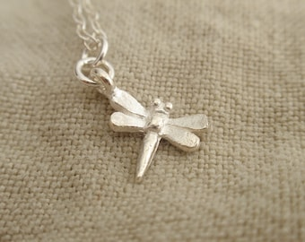 Dragonfly Charm Sterling silver necklace-simple everyday jewelry