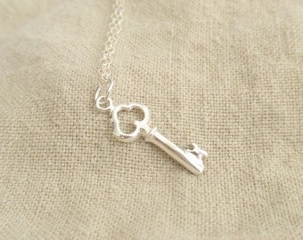 Mini Key charm Sterling silver necklace-simple everyday jewelry