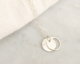 Brushed Disc and Circle Sterling silver necklace-simple everyday jewelry