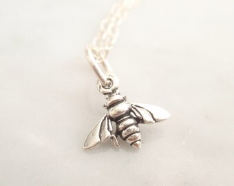 Mini bee Sterling silver necklace-simple everyday jewelry