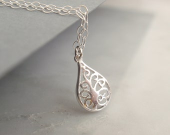 Dream tree drop Sterling silver necklace-simple everyday jewelry
