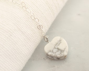 Heart white gem Sterling silver necklace-simple everyday jewelry