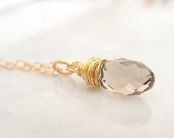 Greige crystal 14K gold filled necklace-simple everyday jewelry