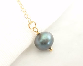Solo Spruce Color Fresh Water Pearl 14K gold filled necklace-simple everyday jewelry