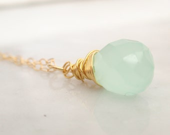 Light Amazonite drop gem 14K gold filled necklace-simple everyday jewelry