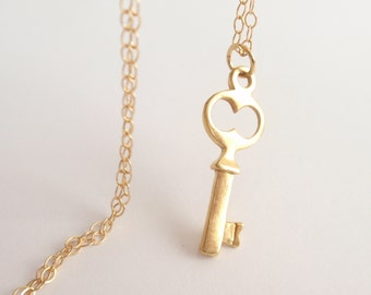 Mini key 14k gold filled necklace-simple everyday jewelry